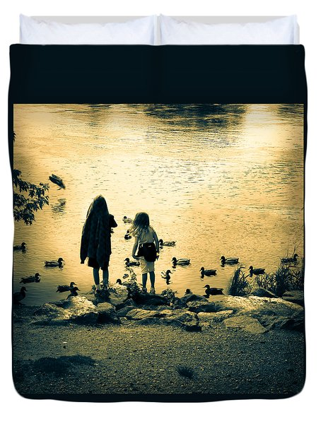Talking to ducks Duvet Cover by Bob Orsillo