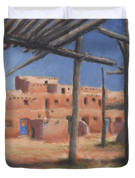 Taos Pueblo Duvet Cover by Jerry McElroy