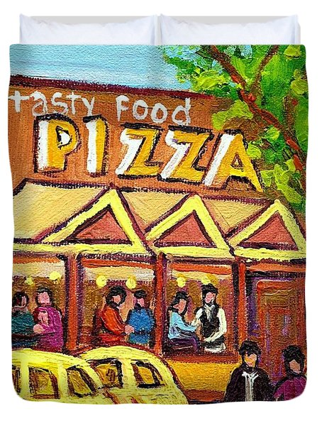 TASTY FOOD PIZZA ON DECARIE BLVD Duvet Cover by CAROLE SPANDAU