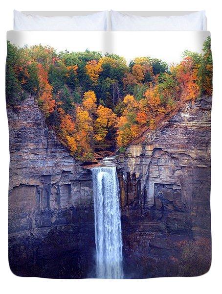 Taughannock Waterfalls In Autumn Duvet Cover by Paul Ge