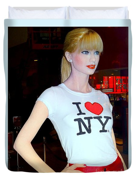 Taylor In Times Square Duvet Cover by Ed Weidman