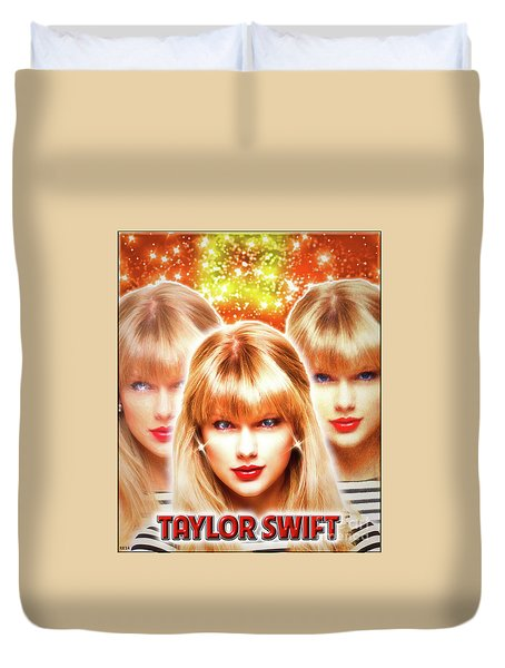 Taylor Swift - Beautiful Vision Duvet Cover by Robert Radmore