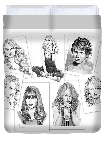 Taylor Swift Collage Duvet Cover by Murphy Elliott
