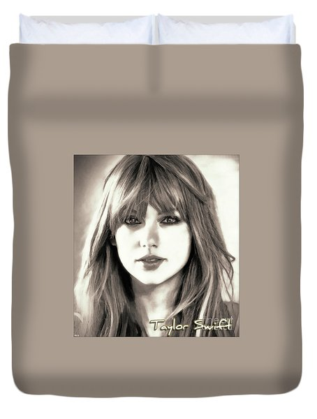 Taylor Swift - Glowing Beauty Duvet Cover by Robert Radmore
