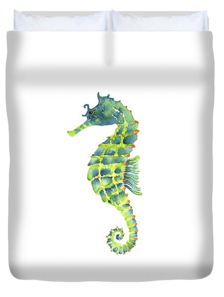 Teal Green Seahorse - Square Duvet Cover by Amy Kirkpatrick