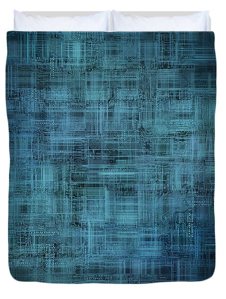 technology abstract background Duvet Cover by Michal Boubin