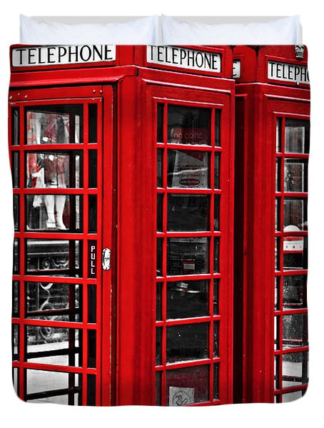 Telephone boxes in London Duvet Cover by Elena Elisseeva