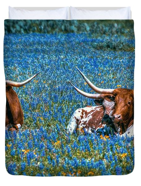 Texas In Blue Duvet Cover by Linda Unger