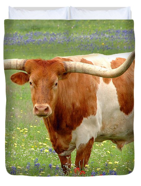 Texas Longhorn Standing in Bluebonnets Duvet Cover by Jon Holiday