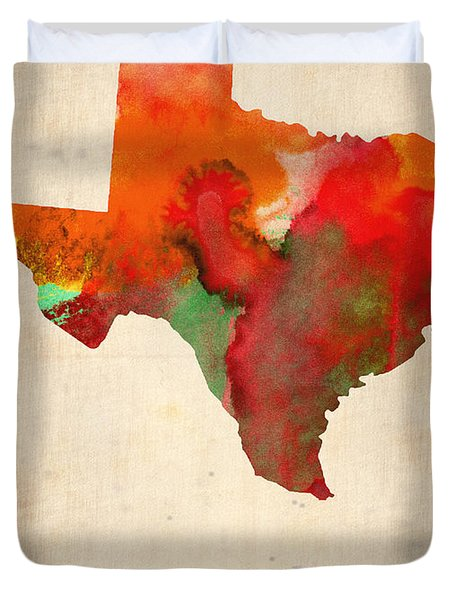 Texas Watercolor Map Duvet Cover by Naxart Studio