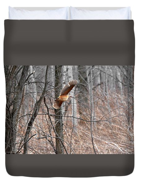 The American Woodcock In-flight Duvet Cover by Asbed Iskedjian