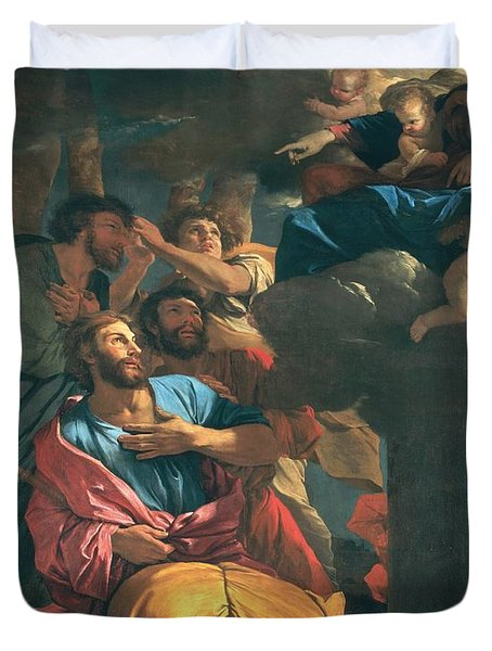 The Apparition Of The Virgin The St James The Great Duvet Cover by Nicolas Poussin