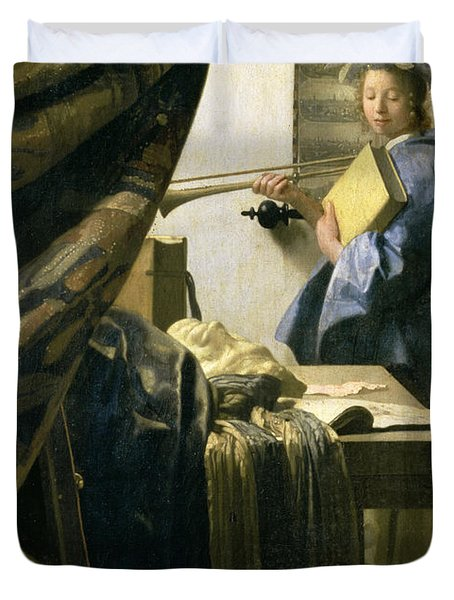The Artists Studio Duvet Cover by Jan Vermeer