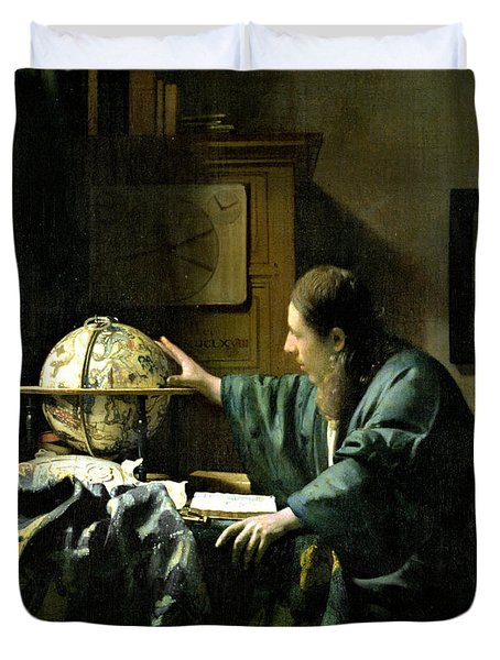 The Astronomer Duvet Cover by Jan Vermeer