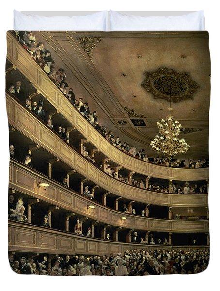 The Auditorium Of The Old Castle Theatre Duvet Cover by Gustav Klimt