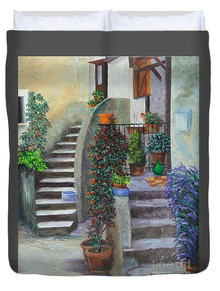The Back Stairs Duvet Cover by Charlotte Blanchard