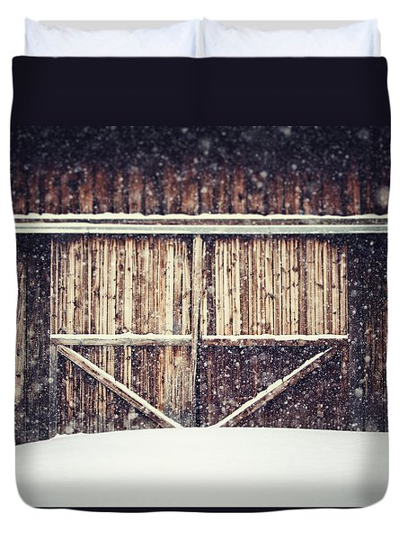 The Barn in Winter Duvet Cover by Lisa Russo