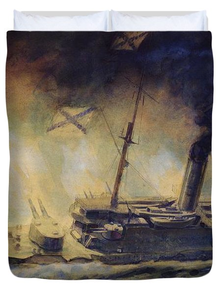 The Battle Of The Gulf Of Riga Duvet Cover by Mikhail Mikhailovich Semyonov