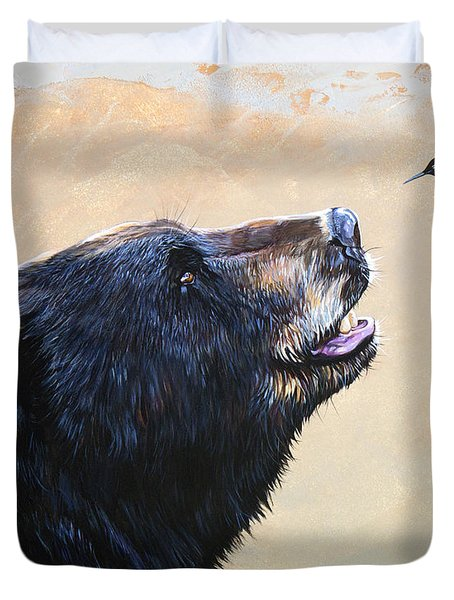 The Bear And The Hummingbird Duvet Cover by J W Baker