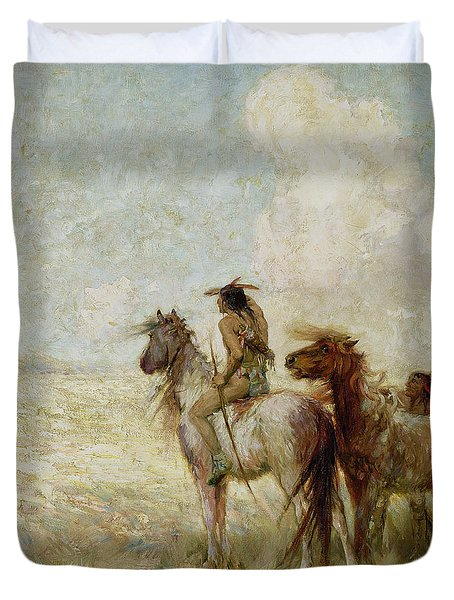 The Bison Hunters Duvet Cover by Nathaniel Hughes John Baird