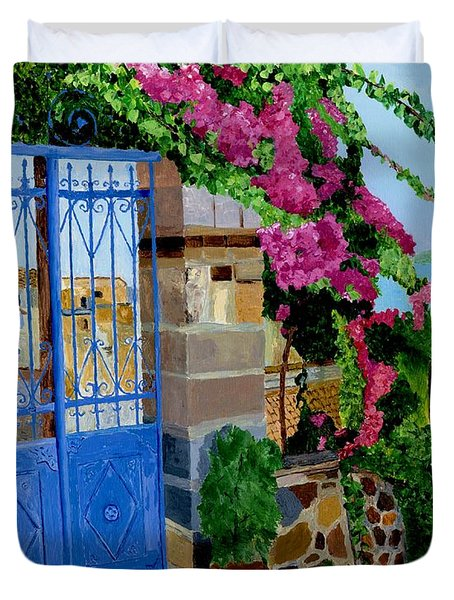 Duvet Cover featuring the painting The Blue Gate  by Rodney Campbell