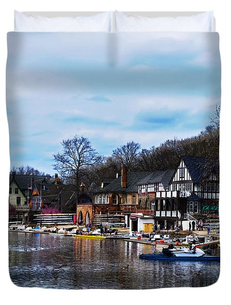 The Boat House Row Duvet Cover by Bill Cannon
