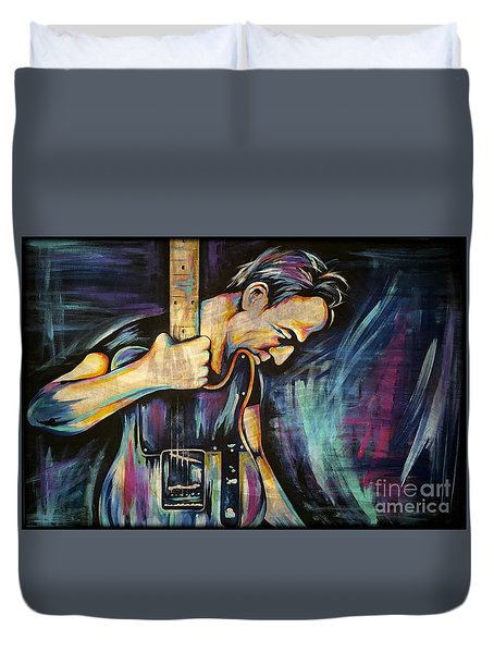 The Boss Bruce Springsteen Duvet Cover by Amy Belonio