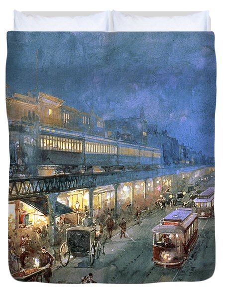 The Bowery At Night Duvet Cover by William Sonntag