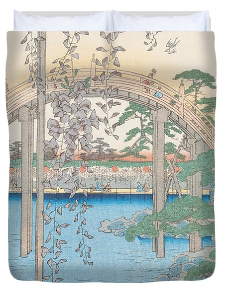 The Bridge With Wisteria Duvet Cover by Hiroshige