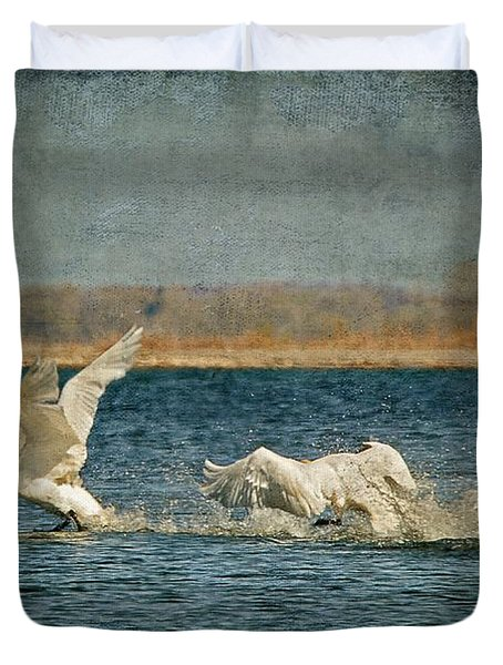 The Chase Is On Duvet Cover by Lois Bryan