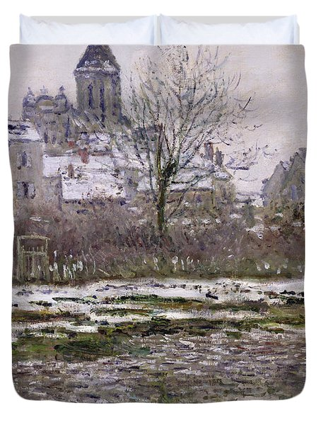 The Church At Vetheuil Under Snow Duvet Cover by Claude Monet