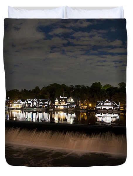 The Colorful Lights Of Boathouse Row Duvet Cover by Bill Cannon