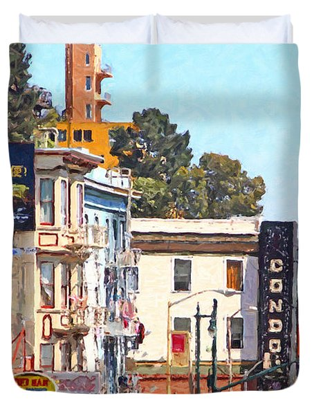 The Condor On Broadway And Columbus Street In San Francisco Duvet Cover by Wingsdomain Art and Photography