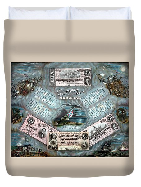 The Confederate Note Memorial  Duvet Cover by War Is Hell Store