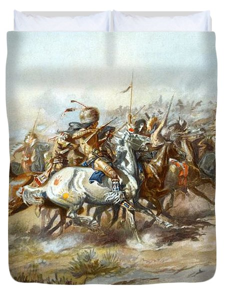 The Custer Fight Duvet Cover by Charles Russell