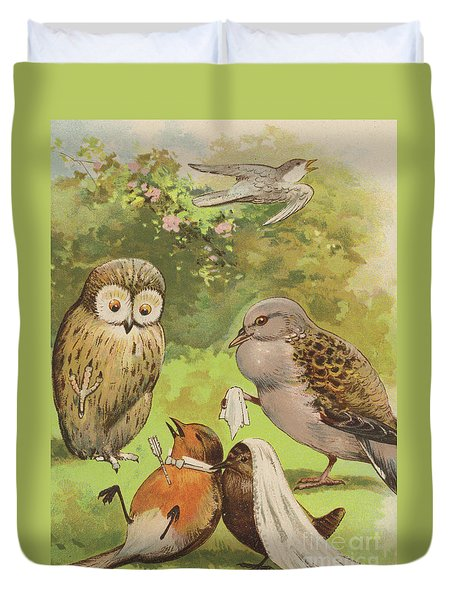 The Death Of Cock Robin Duvet Cover by English School