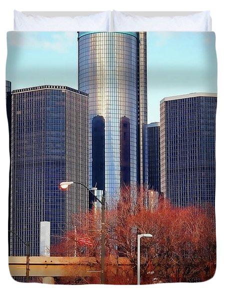 The Detroit Renaissance Center Duvet Cover by Gordon Dean II