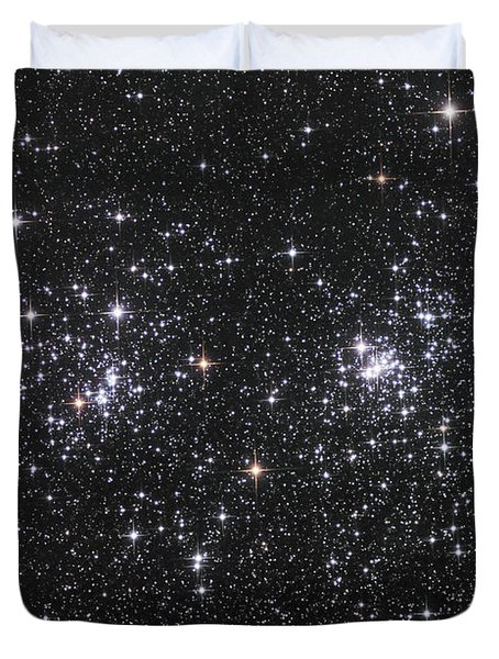 The Double Cluster, Ngc 884 And Ngc 869 Duvet Cover by Robert Gendler