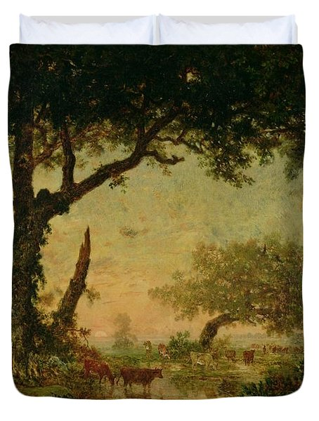 The Edge Of The Forest At Fontainebleau Duvet Cover by Theodore Rousseau