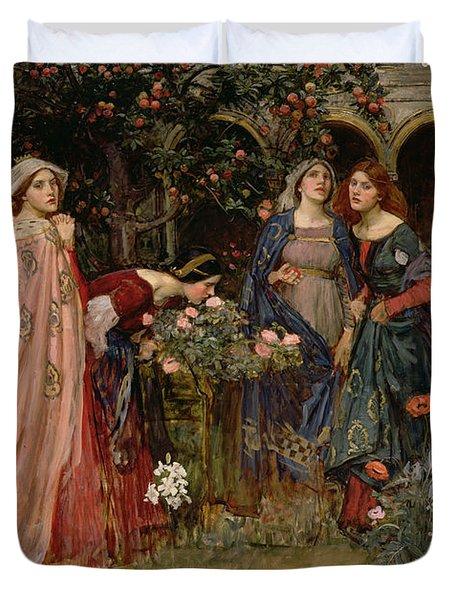 The Enchanted Garden Duvet Cover by John William Waterhouse