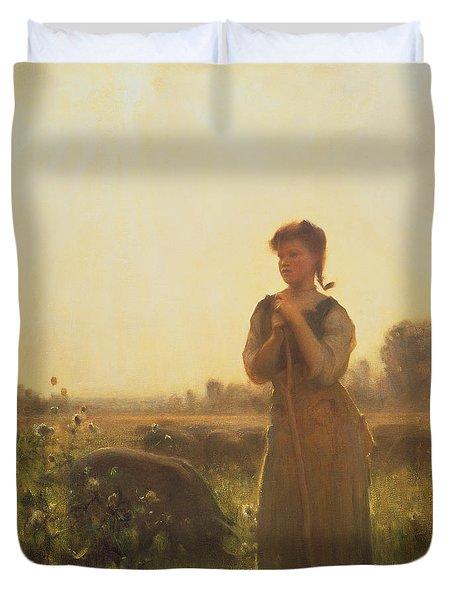 The Farm Girl Duvet Cover by Arthur Hacker