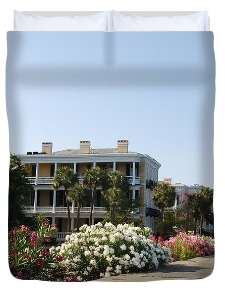 The Flowers At The Battery Charleston Sc Duvet Cover by Susanne Van Hulst
