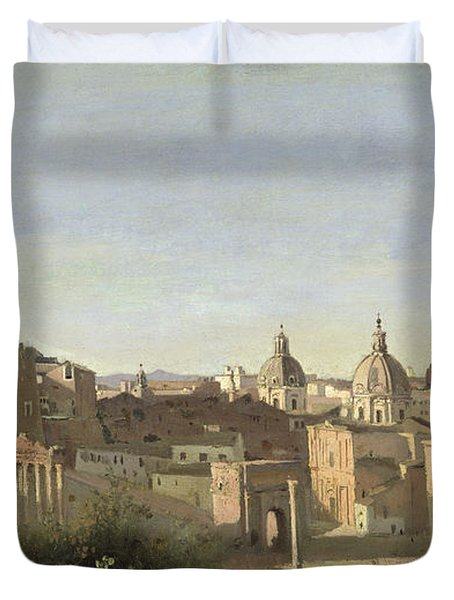 The Forum Seen From The Farnese Gardens Duvet Cover by Jean Baptiste Camille Corot