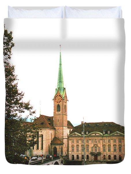 The Fraumunster Abbey In Zurich Switzerland Duvet Cover by Susanne Van Hulst