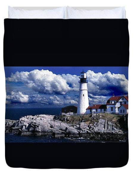 The Front At Portland Head Duvet Cover by Skip Willits
