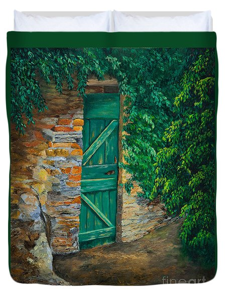 The Garden Gate In Cinque Terre Duvet Cover by Charlotte Blanchard