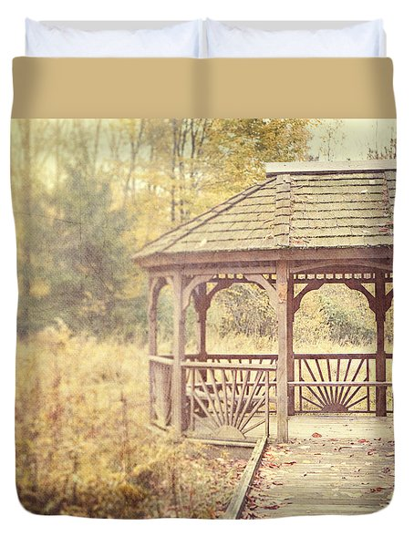 The Gazebo in the Woods Duvet Cover by Lisa Russo