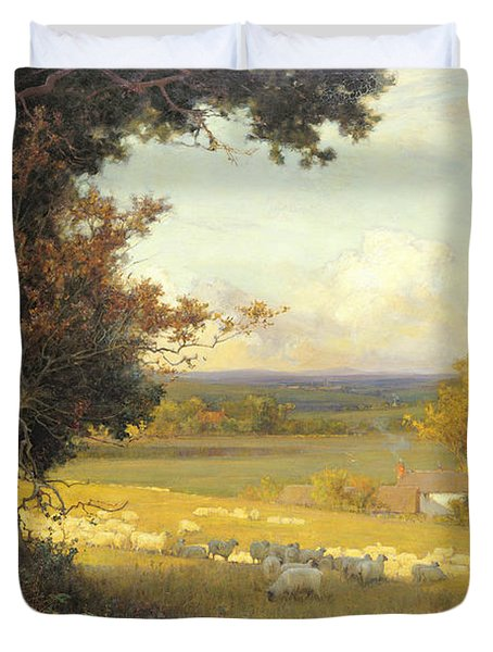 The Golden Valley Duvet Cover by Sir Alfred East