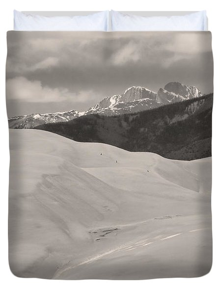 The Great Sand Dunes  BW Sepia Duvet Cover by James BO  Insogna