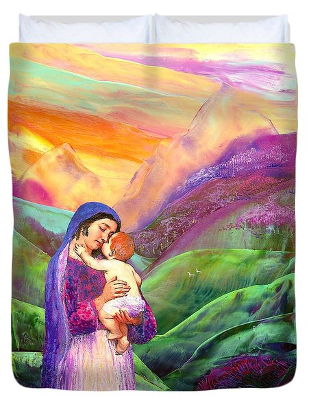 Virgin Mary And Baby Jesus, The Greatest Gift Duvet Cover by Jane Small